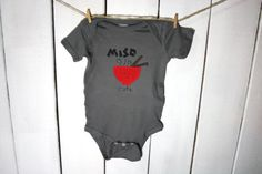 """baby bodysuit """"MISO CUTE"""", cute Japanese miso soup inspired, fun and unique baby shower gift - @Carly Davis !!!"""