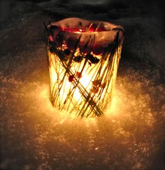 An all natural Christmas lantern made entirely from what you can find outdoors.