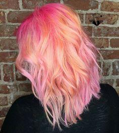 Orange pink ombre sherbet hair pastel science emo color colorful