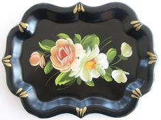 Small Tole Painted Vintage Black Metal Tray with by Made in the 50s,