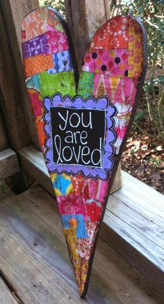 You Are Loved Mixed Media Heart 13 by hollychristine. ETSY