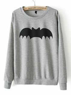 Grey Long Sleeve Bat Print Loose Sweatshirt pictures