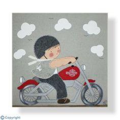 Cuadro infantil personalizado: Niño motorista (ref. 12001-01) Baby Applique, Treasure Boxes, Baby Quilts, Digital Image, Patches, Clip Art, Kids Rugs, Diy Crafts, Salvador