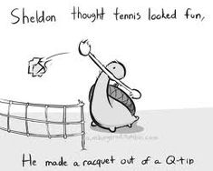 Sheldon thought tennis looked fun, he made a racquet out of a Q-tip, text; Sheldon the Tiny Dinosaur Cute Comics, Funny Comics, Turtle Dinosaur, Dinosaur Quotes, Dinosaur Dinosaur, Sheldon The Tiny Dinosaur, Funny Animals, Cute Animals, Animal Memes