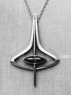 Pendant, silver with garnet - George Brooks