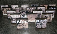 Up to 20 Personalized Wooden Photo Blocks to display DESTINATION Wedding,Vacations,Memories - Great  Gifts. $140.00, via Etsy.