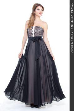 """Vestido Largo en tejido gasa color negro combinado con puntilla en cuerpo. Fondo vestido con tejido saten color nuede. Ref. 323V14 """"Luna"""""""