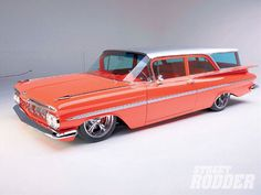1959 Chevy Impala And Biscayne Brookwood Wagon - Street Rodder Magazine - Hot Rod 1959 Chevy Impala, Chevrolet Chevelle, Station Wagon Cars, Muscle Cars, Car Breaks, Sweet Cars, Us Cars, Bel Air, Classic Cars