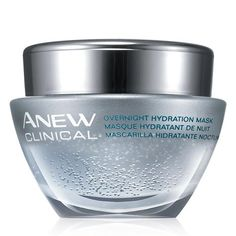 Let Avon work for you while you sleep! Moisturize your face at night with Anew Clinical Overnight Hydration Mask. The unique gel formula is light on your skin while deeply replenishing lost moisture. This hydrating formula contains encapsulated hyaluronic acid and shea butter for better absorption and smoother skin, plumping its looks. Fragrance-free, paraben-free, and oil-free means this face mask is suitable for sensitive skin. And as an added bonus this 1.7 oz. jar won't stain your…