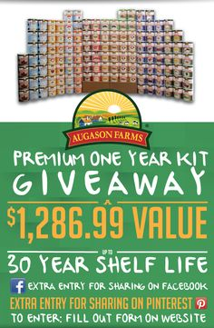 Enter to #Win a One Year Food Storage Kit by July 4, 2014! $1,286.99 Value! http://bit.ly/1lQq7Cq #augasonfarmsgiveaway