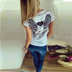 Fashion Women's Angel Wings T-shirt Tops Summer Lace Short Sleeve