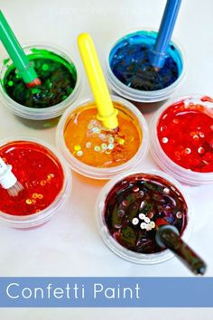 Homemade paint recipe for confetti paint. These paints are gorgeous and glossy and only require three simple and inexpensive ingredients.  Total prep time is less than five minutes.