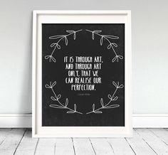 Oscar Wilde Perfection Quote Art Print by MelissaDanielleShop