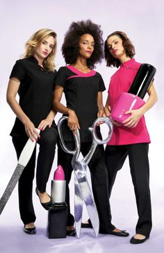 Give your staff the ultimate beauty makeover with a uniform from Premier Clothing Nail Salon Design, Salon Interior Design, Beauty Salon Uniform Ideas, Nail Saloon, Premier Clothing, Healthcare Uniforms, Spa Uniform, Loreal Hair, Beauty Makeover