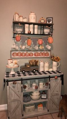 Stylish and Minimalist Fall Kitchen Decorating Ideas You Have To See – Decoration Coffee Nook, Coffee Bar Home, Coffee Corner, Coffee Bars, Fall Kitchen Decor, Fall Home Decor, Autumn Home, Halloween Kitchen Decor, Kitchen Ideas