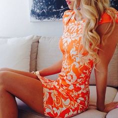 Lovely Colour Orange Short Dress