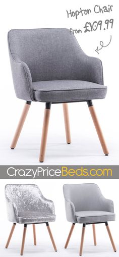 The Hopton chair is a perfectly versatile accent furniture piece. Perfect for the living room, bedroom, office or even dining room. Upholstered in Light Grey, Charcoal Grey Fabric or Silver Crushed Ve Wooden Living Room Furniture, Red Painted Furniture, Trendy Furniture, White Bedroom Furniture, Simple Furniture, Accent Furniture, Home Decor Bedroom, Bedroom Office, Girls Bedroom