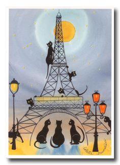 """Coup de coeur pour ces cartes postales représentant les """" Chats de Paris """"…"""
