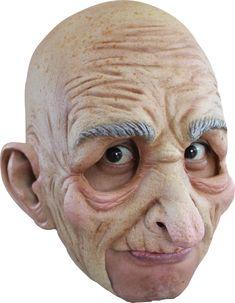 Latex Old Man Mask Bald Head Wrinkled Skin White Hair Adult Costume Mens Grandpa