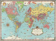 World Map Pin Board, World Map With Pins, Push Pin World Map, Giant World Map, World Map Wall Decal, World Map Wallpaper, Pictorial Maps, Wall Murals, Printing On Fabric