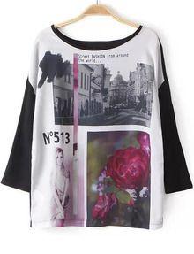 Black Round Neck Building Beauty Print T-Shirt