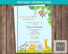 INSTANT DOWNLOAD Jungle Baby Shower Invitation by PaperPapelShop