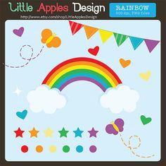 Rainbow Clip Art / Rainbow Clipart / Butterfly Clip Art / Heart Clipart / Rainbow Party Clip Art / Commercial & Personal