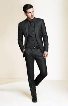 Fashion Black Formal Business Men Suits Slim Fit Mens Suits Groom Tuxedo Blazer for Wedding Mens Prom Suits Tailored. Mode Masculine, Sharp Dressed Man, Well Dressed Men, Terno Slim Fit, Moda Formal, Look Man, Herren Outfit, Black Suits, Black On Black Suit