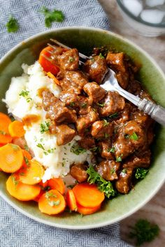 """Ridiculously tender, Homemade Slow Cooker Beef Tips and Gravy (without any """"cream of"""" anything!) is richly satisfying, comforting and flavorful and the perfect make ahead meal for busy weeknights! I also love serving it for special occasions or holidays because it is so easy, make ahead and super easy to double or triple the recipe!"""