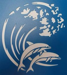 Etsy の Dolphins on a Wave by kraftkutz Tiger Stencil, Stencil Art, Rooster Stencil, Stenciling, Stencil Patterns, Stencil Designs, Kirigami, Dolphins Tattoo, Glass Engraving