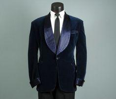 Vintage Mens 1930s Smoking Jacket Stunning BLUE by jauntyrooster, $275.00