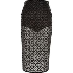 Black coated lace sheer pencil skirt