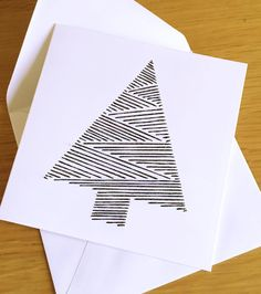 Sparkly Black Christmas Tree - Handmade, String Art, Embroidered, Christmas Card on square white card by TwinnDesigns on Etsy