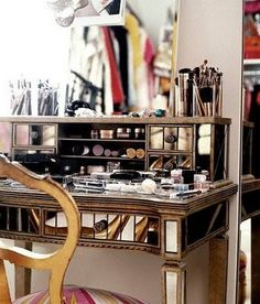 makeup vanity... Every girl should have this at least once in their lifetime.
