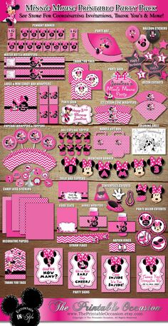 SALE! Minnie Mouse Party Pack, Pink Chevron and Polka Dot Minnie Mouse, Wrappers Toppers Labels Centerpieces Banner Tents DIY Printable by ThePrintableOccasion on Etsy https://www.etsy.com/listing/106474396/sale-minnie-mouse-party-pack-pink