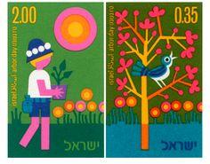 1970's stamps from Israel ✭ vintage graphic illustration http://shop.rocket-lulu.com