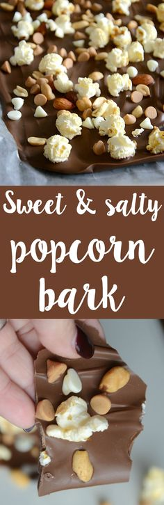 Delicious sweet and salty popcorn bark recipe! This is so easy to toss together and everyone will love the sweet/salty combo! View the full recipe in the. Best Dessert Recipes, Sweet Desserts, Candy Recipes, Easy Desserts, Delicious Desserts, Snack Recipes, Popcorn Recipes, Yummy Recipes, Easy Homemade Recipes