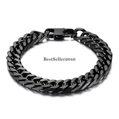 Durable Black Stainless Steel 10mm Heavy Wide Mens Curb Link Chain Bracelet 8""