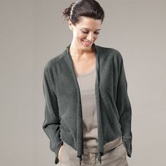 """OSKA """"TABAYA"""" is an elegant lightweight cardigan that will take you from day to night.  Easy to wear and it will refine even the simplest top and shirt. You can drape the loose ends around or wear them hanging freely.     Available in Anthra or Cliff    Material: 75% Viscose 25% Polyester    Care: Hand wash"""