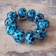 Handmade Lampwork Glass Beads 5 pcs Turquoise Dark Teal