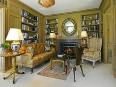 Paneled library in Greenwich Home Built In The Style of A Grand European Manor Home Library Study Room, Library Inspiration, Architectural Digest, Estate Homes, Beautiful Interiors, Living Area, Living Rooms, Building A House, Sweet Home