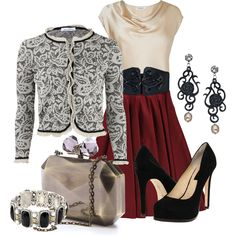 Dressy Winter White - Polyvore  CUTE fancy dinner date with Hubby! Not too crazy about the jacket. -MLH