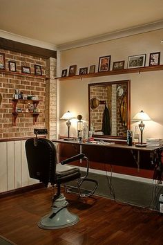 I wondered how I could kick-start my dream of being a barber without going broke in the process. Building a barbershop in my garage. Barber Shop Interior, Barber Shop Decor, Shop Interior Design, Home Hair Salons, Home Salon, Barbershop Design, Barbershop Ideas, Garage Loft, Garage Shop