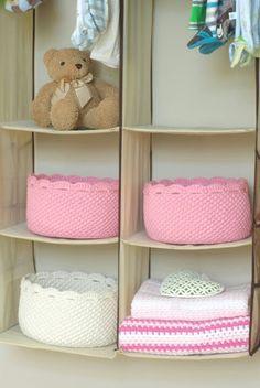 Crochet basket for hanging closet shelves (socks, underwear)
