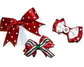 Gulf Coast Crafters - Black & White and Red All Over Etsy Treasury featuring our holiday bow trio =)