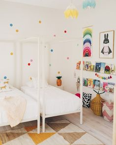 Inspiring Shared Kids Room Ideas For Twins – Building cabinet beds is an excellent way to create privacy in a shared room while creating a unique kids decor. If space allows, two cabinet beds can… Baby Bedroom, Girls Bedroom, Bedroom Ideas, Kid Bedrooms, Bedroom Inspiration, Bedroom Wall, Bedroom Decor, Kids Room Design, Home And Deco