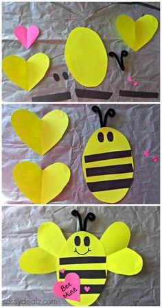 """""""Bee Mine"""" Valentines Day Craft For Kids #Valentines card #bee art project   CraftyMorning.com"""