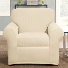 Sure Fit Slipcovers Form Fit Stretch Pinstripe Chair Slipcover