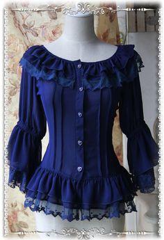 Infanta Fairy Dance Chiffon Blouse in Dark Blue