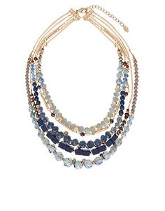 Ultimate Layered Glass Bead Necklace   Blue   Accessorize